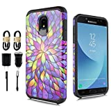 For Samsung Galaxy J3 Achieve/J3 Star/J3 V 2nd Gen./J3 2018/Express Prime 3/Sol 3/Amp Prime 3 2018 Case, Hybrid Graphic Protective Armor Cover Case For SM-J337 Value Bundle (Stained Glass)