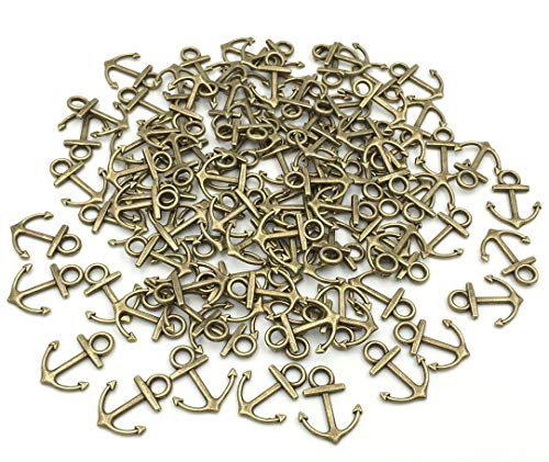 Youkwer 100pcs Mini 14x18mm Vintage Nautical Anchor Sign Metal Charms Pendants DIY Crafting Jewelry -