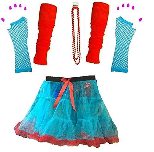 Momo&Ayat Fashion Ladies Thing Red Turquoise Theme 1 & 2 Book Week Costume- Pick & Mix (Set 7 - Tutu, S/M (UK 8-10))