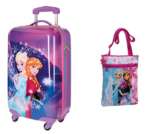 DISNEY: Pack Maleta FROZEN MAGIC de 55 cm + Bandolera FROZEN de 20×24 cm- 1.44 Litros- color rosa.