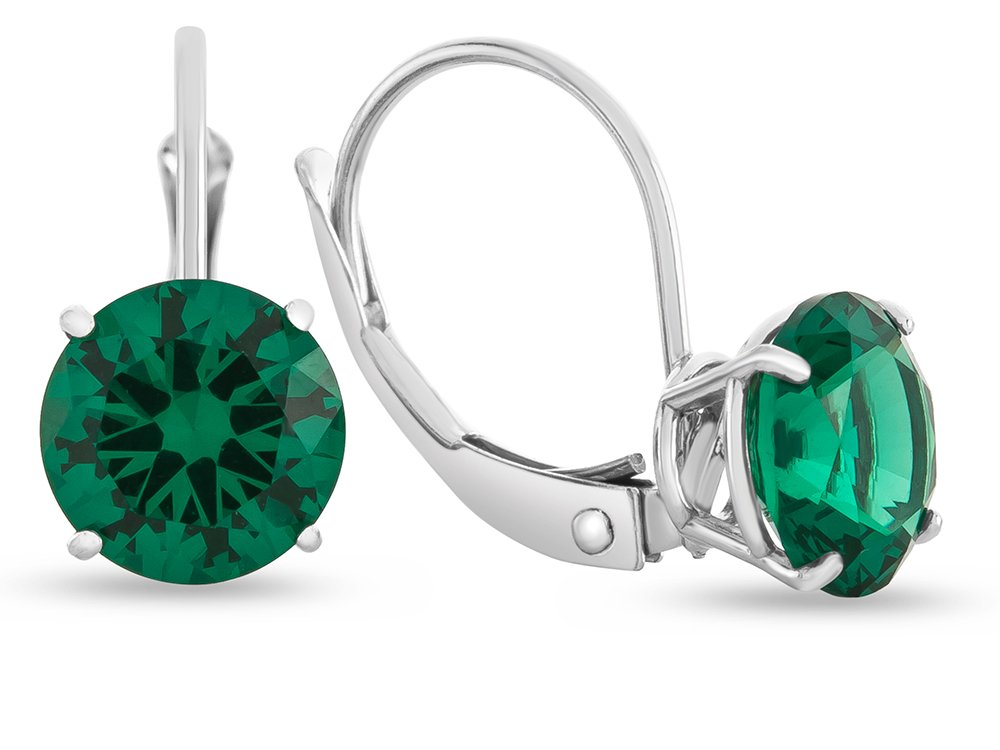 Finejewelers 7x7mm Round Simulated Emerald Lever-back Earrings 14 kt White Gold