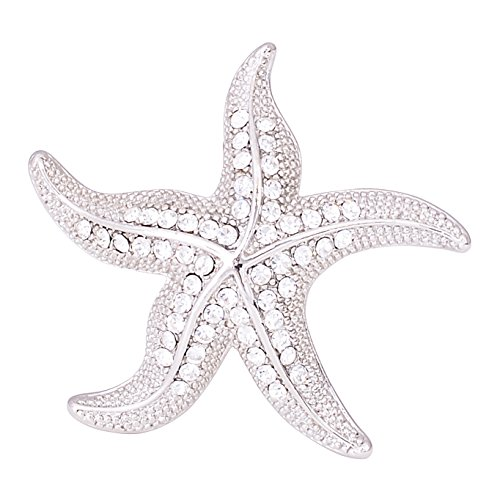 Fenni Crystal Starfish Conch Shell Crab Fish Marine Organism Sea Ocean Life Creatures Star Brooch Pin (Silver Starfish)