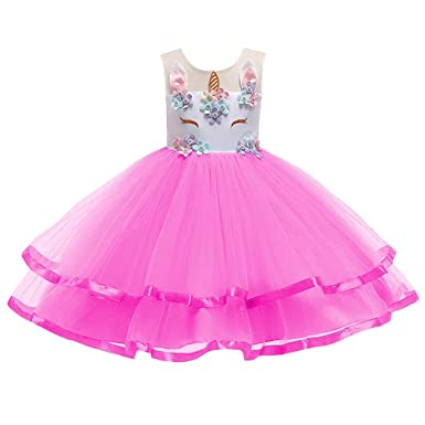 24a062f0c95 Flower Girl Rainbow Unicorn Cosplay Tulle Tutu Dress up 3D Embroidery  Beading Wedding Birthday Outfits Pageant