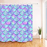 One Fish Two Fish Shower Curtain LB Abstract Mermaid Scale Shower Curtain Modern Design Holographic Fish Tail Pattern Ocean Shower Curtains for Kids Waterproof Anti Mildew Fabric 72x72 Inch