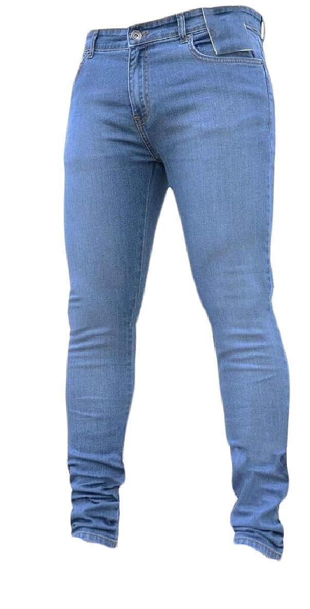 ONTBYB Men Classic Washed Solid Skinny Jeans Stretch Slim Denim Jean