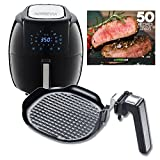 GoWISE USA 5.8-Quarts 8-in-1 Air Fryer XL with Detachable Grill Pan + 50 Recipes for your Air Fryer Book (Black + Grill Pan)