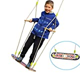 HappyPie Children Trapeze Tree Skateboard Swing with 93'' Adjustable Rope Outdoor Exercise Toy - Skull