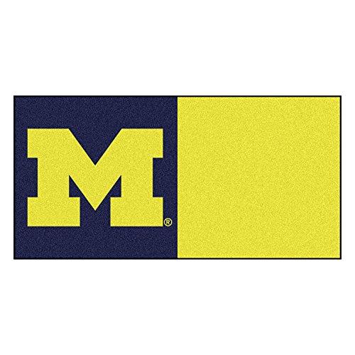 (FANMATS NCAA University of Michigan Wolverines Nylon Face Team Carpet Tiles)