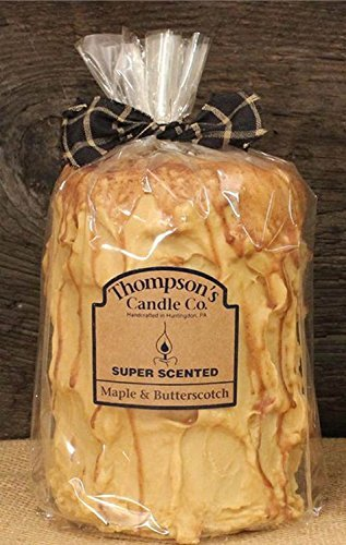 Thompson's Candle Co Super Scented LG(44 oz) Pillar 200 Hrs Maple & Butterscotch -