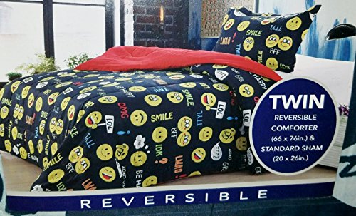 Black Emoji Bedding Reversible Comforter - Twin