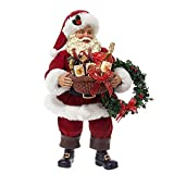 """10"""" Fabriche """"Santa Holding Gift Basket of Wine and Wreath"""" Christmas Table Top Figure"""