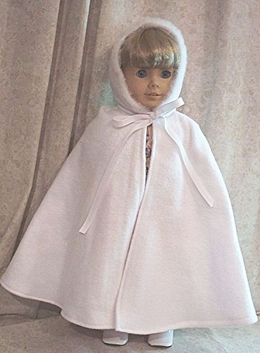 Doll Clothes Made 2 Fit American Girl 18' inch Cape White Fleece with Hood