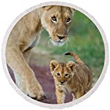 Pixels Round Beach Towel With Tassels featuring ''Close-up Of A Lioness And Her Cub'' by Pixels