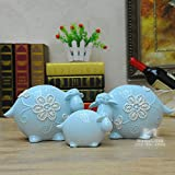 1 set (3) Chinese living room living room TV cabinet bedroom animal adornment ornament Desktop display LU613541 (Color : Blue)