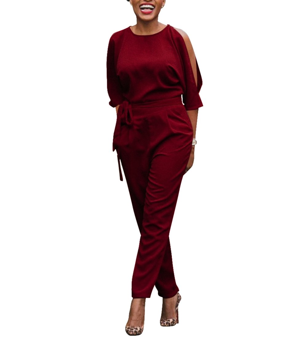 Chic-Lover Women's Elegant High Waisted Wide Leg Long Pants Jumpsuits Romper with Belt
