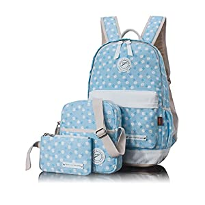 Bookbags for Teens, Floral Canvas School Backpack Haversack Shoulder Bag Pencil Cases3 PCS by Leaper