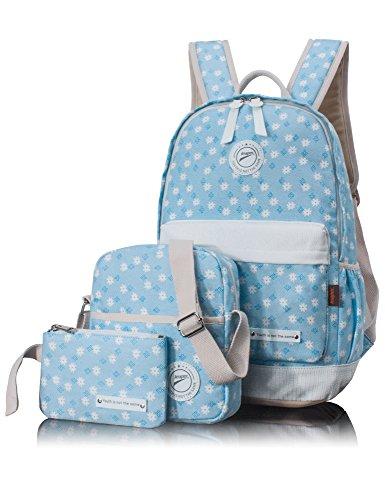 Leaper Floral Canvas School Backpack Haversack Shoulder Bag Pencil Cases 3 PCS Sky Blue (Flower Backpack Purse)