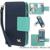 iPhone SE/iPhone 5 5S Case, xhorizon TM SR Premium Leather Folio Case Wallet Magnetic Detachable Purse Multiple Card Slots Bird Case for iPhone 5 5S / iPhone SE (2016) with a Car Mount Holder (Navy)