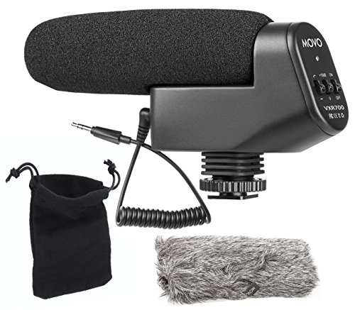 Movo VXR700 Shotgun Condenser Video Microphone with Integrated Shockmount, 10dB Gain Switch, Low Cut Filter, Foam & Deadcat Windscreens & Carry Case - For DSLR Cameras & Camcorders by Movo