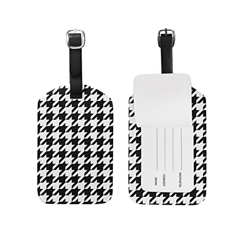 Houndstooth Label - JSTEL Pied De Poule Houndstooth Luggage Tags Suitcase Labels Travel ID Identifier Privacy Cover
