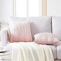 Top Finel Juegos 2 Hogar Cojín Terciopelo Suave Decorativa Almohadas Fundas de Color Sólido para Sala de Estar sofás 45X45cm Rosa Claro