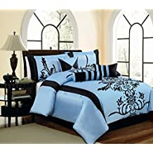 Light Blue / Black Comforter Set Flocking Bed In A Bag Queen Size Bedding