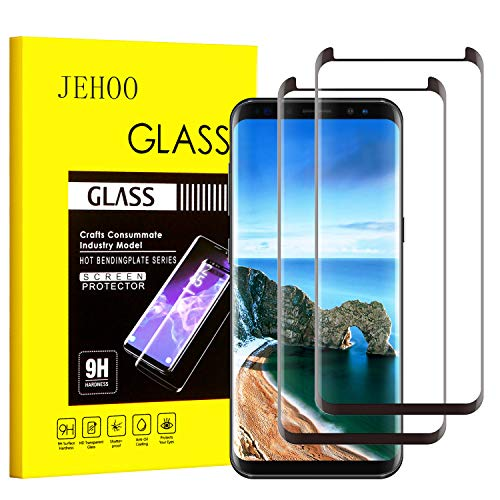 JEHOO Galaxy S8 Screen Protector, [2-Pack] Updated Version Tempered Glass Screen Protector [9H Hardness][Anti-Scratch][Anti-Bubble][3D Curved] [High Definition] [Ultra Clear] for Samsung Galaxy S8