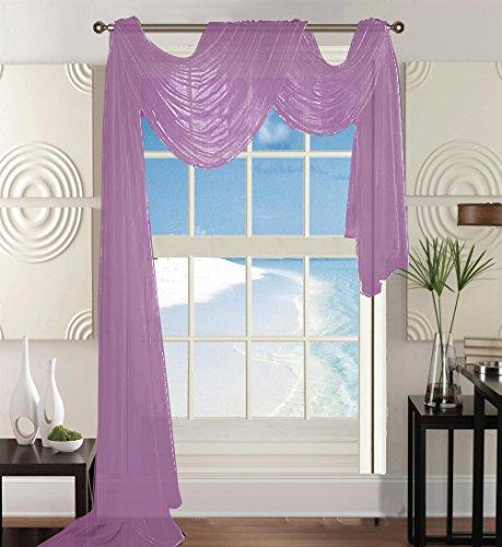 Elegant Comfort Beautiful Window Panel Curtain Sheer Voile Scarf 55″ X 216″ Lavender