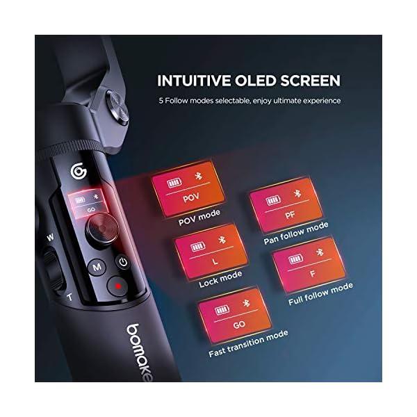 BOMAKER Stabilizzatore Gimbal a 3 Assi per Smartphone, Stabilizzatore Cardanico Portabile, Design Leggero e Pieghevole con Treppiede Impugnatura, modalità di Tracciamento AI per Vlogger e Youtuber 5 spesavip