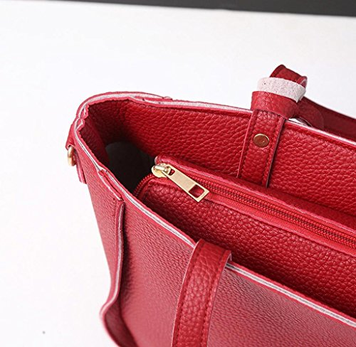 ¡GRAN VENTA! 4 Piezas Bolsos de Hombro de mujeres, Holacha Bolsos de mano de Cuero Suave Rojo