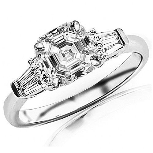 - 1.1 Ctw 14K White Gold Prong Set Round And Baguette Diamond Engagement Ring (0.75 Ct H Color VVS2 Clarity Asscher Cut Center)