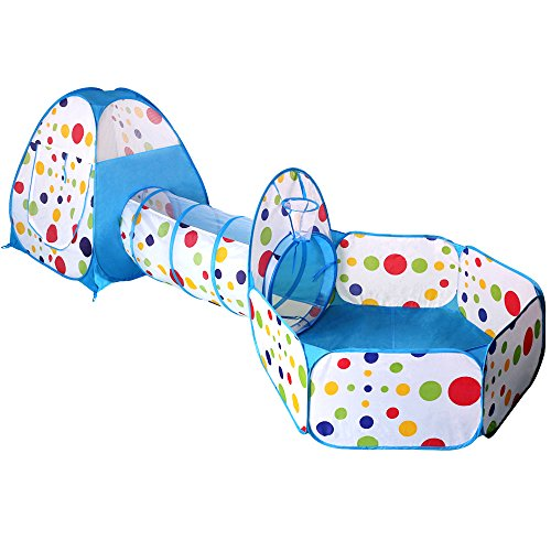 EocuSun Polka Dot 3-in-1 Folding Kids Play Tent with Tunnel, Ball Pit and Zippered Storage Bag (Blue) by EocuSun