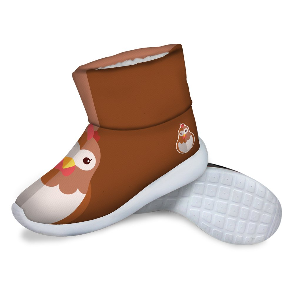 FOR U DESIGNS Cute Hen Print Children Cozy Short Ankle Snow Boots US 11.5 by FOR U DESIGNS (Image #4)