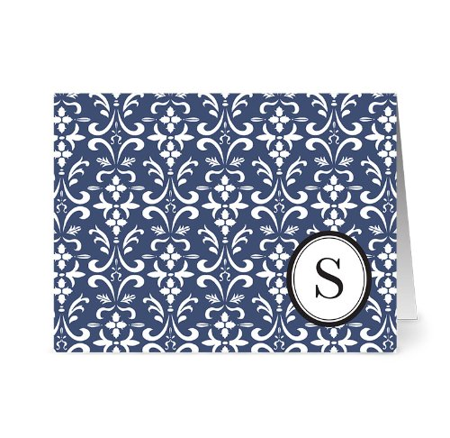 Modern Floral Damask 'S' Navy Monogram - 24 Cards - Blank Cards w/ Grey Envelopes (Floral Monogram Note Card)
