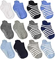 Aminson Anti Slip Non Skid?Ankle Socks With Grips for Baby Toddler Kids Boys Girls