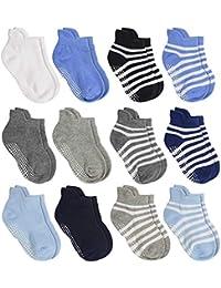 Anti Slip Non Skid Ankle Socks With Grips for Baby Toddler Kids Boys Girls