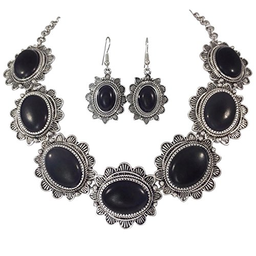 Black 7 Oval Western Style Concho Silver Tone Necklace and Dangle Earrings Set (Concho Chain Necklace)