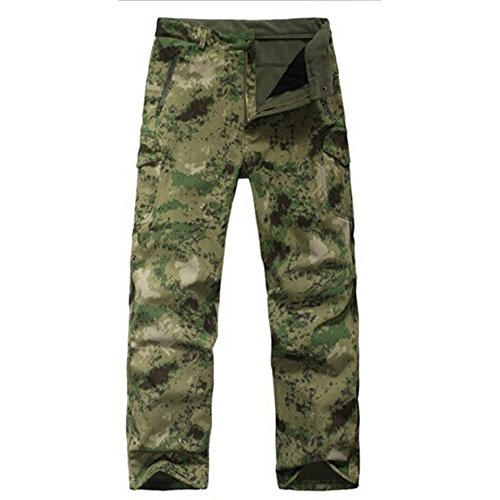 Waterproof Tactical Military Army Combat Soft Shell Pants Camouflage Shark Skin Fleece Ling Outdoor Sports Camping Hiking Trousers (Ruins Green, 2XL)