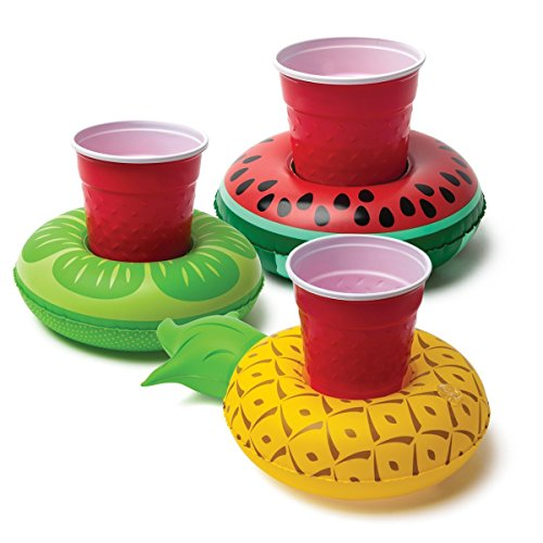 iFun iCool 3 PCs Inflatable Coasters Inflatable Drink Holder Inflatable Pool Cup Holders (Tropical Fruits)