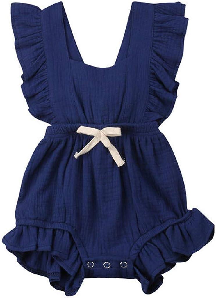 Covermason Babykleidung M/ädchen Sommer 2019 Neugeborenes S/äugling Baby M/ädchen Strampler Einfarbig R/üschen R/ückkreuzung Jumpsuit Bodysuit Outfits Overall