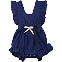 Hot!! Baby Girls Rompers GoodLock Summer Newborn Infant Color Solid Ruffles Backcross Romper Bodysuit Outfits