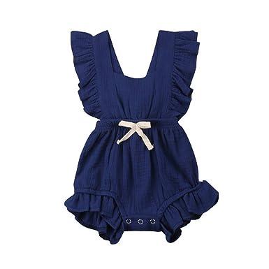 dbd6d8d2c Tronet Newborn Onesies Newborn Onesies Infant Baby Girls Color Solid  Ruffles Romper Sunsuit Outfits Dark Blue