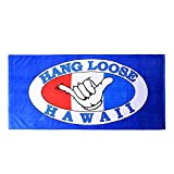 Hawaii Beach Towel 100% Cotton 60x30 Blue Hang Loose Aloha Surfer Hand Sign