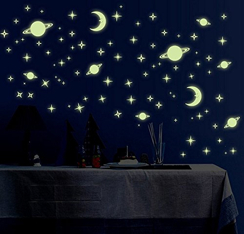 Dreamkraft Galaxy Of Stars Radium Glow In The Dark' Wall Stickers For Bedroom/Living Room Home Decor