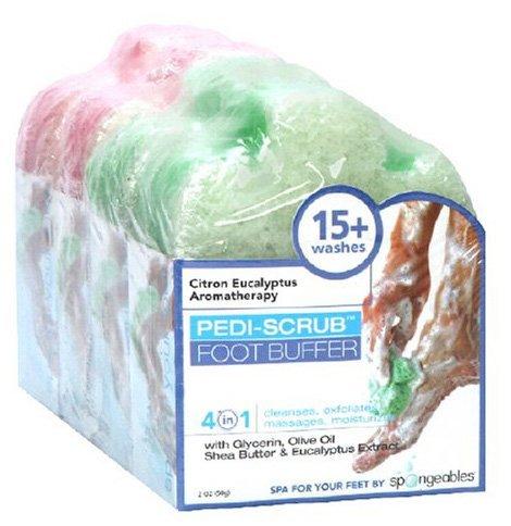 Tampon Spongeables pieds Pedi-Scrub, Citron Thé d'eucalyptus et de lavande Aromathérapie Huile Arbre, 4 temps, 2-Ounce éponges