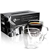 Premium Espresso Cups Set Of 2 - Double Wall Insulated Mugs With Handle - 5.1 oz Heat Resistant Glass Espresso Shot Glasses - Perfect To Keep Your Espresso Hot