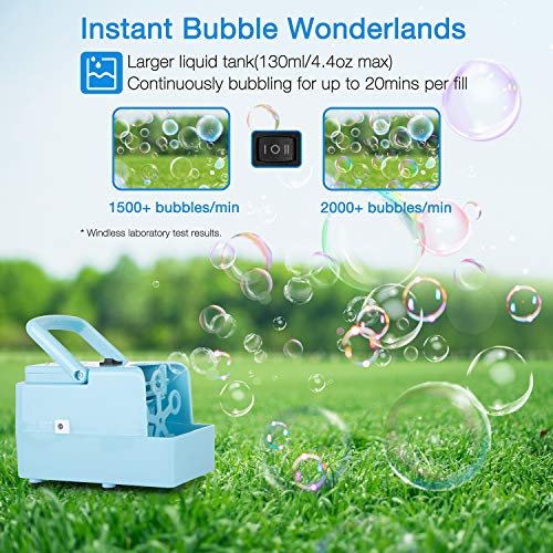KIDWILL Bubble Machine, Portable Bubble Maker Toy for Kids, Automatic Bubble Blower 2000+ per Min, 2 Speed Levels for Party Wedding Christmas Activities, Powered by DC Cable or 4xAA Battery(Included)