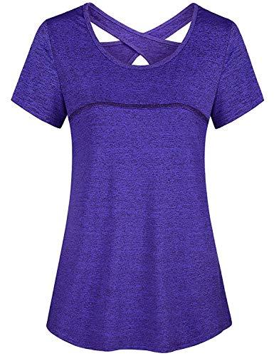 (Yoga Tops for Women,Cucuchy Quick Dry Shirts Modest Criss Cross T-Shirt Plain Short Sleeve Practice Athleisure Wear Jersey Relaxed Fit Workout Clothes Airy Biking Climbing Marathon Clothing Purple XL )