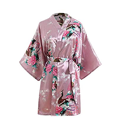 LULUSILK Women's Printing Kimono Robe with Short Sleeve V-Neck, Imitation Silk Bathrobe, Wedding Bridal Sleepwear, One Size