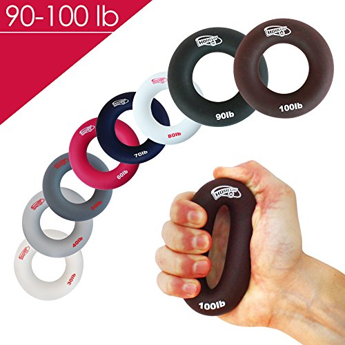 Rock Rubber (3-in-1 Hand Strengthener Grip Rings Round-Comfortable To Use-Increase Your Hand Finger Wrist Forearm Grip Strength For Athletes Rock Climbing Musicians Stress Relief & Injury)